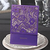 Classic Luxury Wedding Invitation With Floral Cutout (Set of 50)