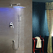 Messing LED Dusche Wasserhahn mit 10-Zoll Duschkopf + Handbrause