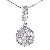 Fashion 925 Silver With Cubic Zirconia Plating Platinum Women's Necklace