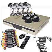 ultra lage prijs 8-kanaals h. 264 cctv dvr kit (500 GB hdd, 8 CMOS nachtvisie camera's)