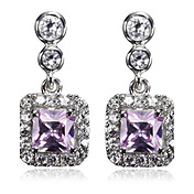 Gorgeous Platinum Plated Cubic Zirconia Earrings
