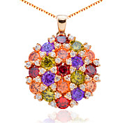 Luxury Alloy Plating 23K Gold With Cubic Zirconia Women's Necklace