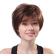 Capless Short Brown Wavy 100% Human Hair Parykker
