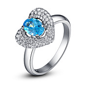 Elegant 925 Sterling Silver Platinum Plated Heart Design Birthstone Ring(More Colors)