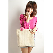 Women's Solid Color Lovely Linen Woven Tote