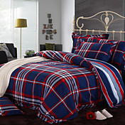 4pcs Tartan-Plaid voller Bettbezug Set