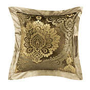 Elegant Floral Velvet Khaki Decorative Pillow Cover