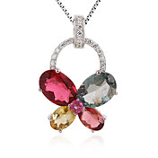 Fashion 925 Silver With Tourmaline Plating 18K Gold Women's Necklace