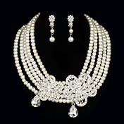 Gorgeous Pearls With Rhinestone Women's Jewelry Set Including Necklace,Earrings