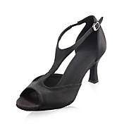 Women's Satin Upper Ballroom Dance Shoes Peep Toe Latin Shoes