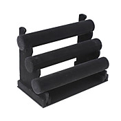 Capa de Terciopelo Negro Pulsera Triple T-Bar Jewelry Display Stand rack