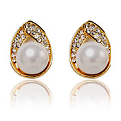 Charming Alloy Pearl Stud Earrings with Crystal