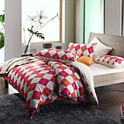 Morden Orange/Purple Diamond Flannel Full / Queen / King 4-Piece Duvet Cover Set