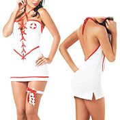 Sexy Red Ribbon White Spandex Nurse Uniform(2 Pieces)