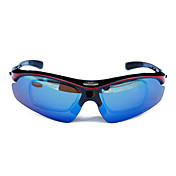 Topeak Sports Professional Cycling Glasses with TR90 Frame(Optical Frame Insert, Black and Red Frame,Five Lens)TSR868 HR
