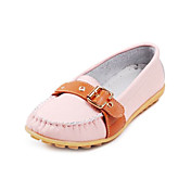 Fashion Leather Flat Heel Loafers &amp; Slip-ons With Buckle Honeymoon Shoes (More Colors)