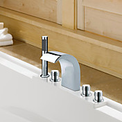 Chrome Finish Widespread Contemporary Style Stainless Steel Bathtub Faucets with Handheld Faucet