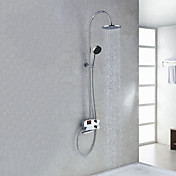 Digital LCD Screen Contemporary Style Thermostatic Chrome Finish Shower Faucets with 8&quot; Showhead + Handheld