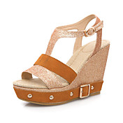 Espumante Glitter Cunha Sandlias salto com fivela partido / Evening Shoes (mais cores)