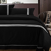 4PCS Leila Black with White Stripe Cotton Duvet Cover Set