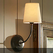 60W Contemporary Wall Light with Fabric Shade and Metal Bracket