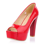 Unique Patent Leather Chunky Heel Pumps/Peep Toe Party/Evening Shoes (More Colors)