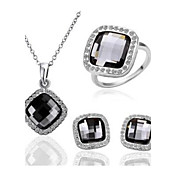 Gorgeous 18K Plated With Crystal Women's Jewelry Set Including Necklace,Earrings,Ring