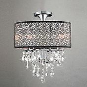 60W Modern Drum Ceiling Light with 4 Lights and Crystal Beads
