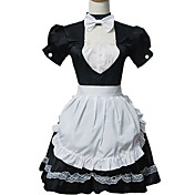 Sweet Short Sleeve Short Black and White Cotton Cosplay Lolita Dress