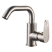 Brushed Finish Centerset Contemporary Style Stainless Steel Bathroom Sink Faucets