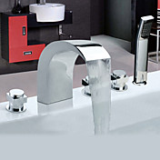 Chrome Finish Widespread Stainless Steel Contemporary Style Bathtub Faucets with Handheld Faucet