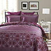 3PCS Ponta Purple Jacquard Doble / Queen / King Duvet Cover Set