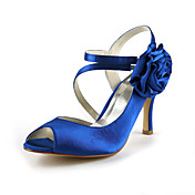 Gorgeous Satin Stiletto Heel Peep Toe With Flower Wedding Shoes (More Colors)