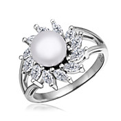 Unique Platinum Plated with Cubic Zirconia Pearl Ring
