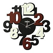 Brown Number Mute Wall Clock
