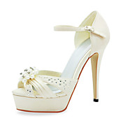Fashion Satin Stiletto Heel Sandals With Imitation Pearl Wedding Shoes (More Colors)
