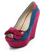 Suede Wedge Heel Peep Toe With Bowknot / Split Joint Party / Evening Shoes (More Colors)