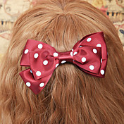 Handmade Wine Red Polka Dots Satin Bow Classic Lolita Headpiece