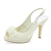 Beautiful Satin Stiletto Heel Peep Toe With Imitation Pearl / Flower Wedding Shoes (More Colors)