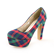 Chic Fabric Chunky Heel Pumps With Plaid Casual / Party / Evening Shoes (More Colors)