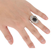 The Black Agate Metal Inlay Drill Adjustable Ring