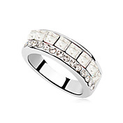 High Quality Platinum Plated Alloy And Crystal Ring(More Colors)
