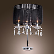Nutidig Crystal 3 - Light Table Light med Farbric Shade Candle Featured