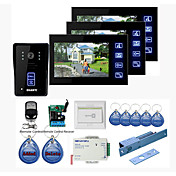 "Neuer 7 ""Touch-Panel-Video-Türsprechanlage System mit 3 Monitoren (RFID Schlüsselanhänger, Elektro Bolt Lock, Remote Control)"