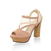 Leatherette / Net Chunky Heel Peep Toe With Zipper Party / Evening Shoes (More Colors)