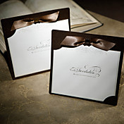 Chic Style Wedding Invitation In Chocolate With Ribbons (Set of 50)