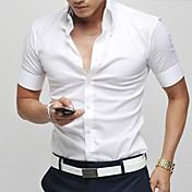 Slim Solid Color Short Sleeve langermet skjorte
