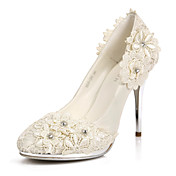 Elegant Satin Stiletto Heel Pumps/Closed Toe With Flower Wedding/Party Shoes