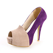 Chic Suede Stiletto hl peep toe med Split Joint fest / kveld sko (flere farger)
