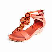 Stylish Leatherette Wedge Heel Sandals With Buckle Party / Evening Shoes(More Colors)